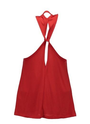 Collezione Kırmızı Önü Baskılı Arkası Birleşim Detaylı Kolsun Kadın Atlet Kırmızı